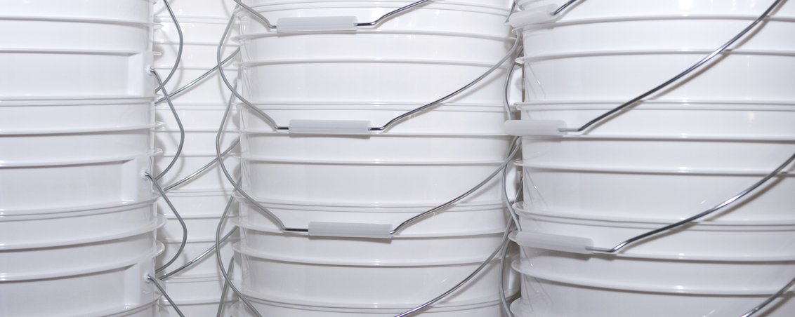 Buckets stacked in rows